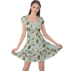 Green Icecream Pattern Cap Sleeve Dress by CoolDesigns