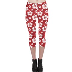 Red Pattern With Hibiscus Flowers On Red  Capri Leggings by CoolDesigns