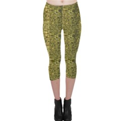 Green Leather Animal Snake Reptile Crocodile Pattern Capri Leggings by CoolDesigns