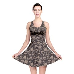 Black Grunge Pattern With Skulls Illustration Reversible Skater Dress