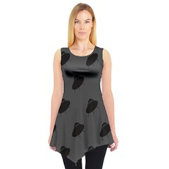 Black Ufo Web Flat Design Gray Pattern Sleeveless Tunic Top by CoolDesigns