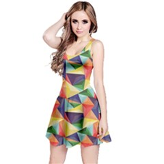 Colorful Triangle Pattern Geometric Abstract Texture Reversible Sleeveless Dress by CoolDesigns