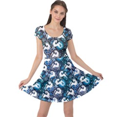 Blue White Horse On A Blue Ornamental Cap Sleeve Dress by CoolDesigns