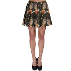 Black Halloween Two Cartoon Owls With Pumpkins Skater Skirt by CoolDesigns