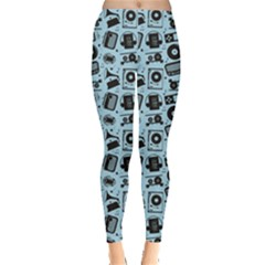 Blue Black Radio Cd Player Music Pattern Leggings by CoolDesigns