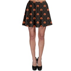 Black Black D Polka Dots Pattern With Halloween Pumpkin Skater Dress by CoolDesigns