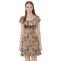 Brown Vintage Aloha Tiki Pattern For Your Business Short Sleeve Skater Dress by CoolDesigns