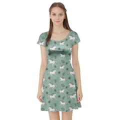 Green Pattern Of Racing White Horses And Flowers Short Sleeve Skater Dress by CoolDesigns
