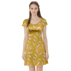 Yellow With Stylized Sharks Stylish Design Short Sleeve Skater Dress by CoolDesigns