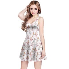 Gray Pattern Of Dancing Horses On White Sleeveless Skater Dress