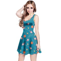 Blue Colorful Space With Cute Rocket Short Sleeve Skater Dress by CoolDesigns