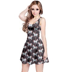 Black Carousel Horses Pattern Short Sleeve Skater Dress by CoolDesigns