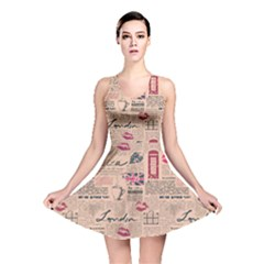 Colorful Pattern Newspaper London With Grunge Eleme Reversible Skater Dress by CoolDesigns