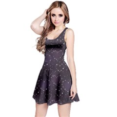 Blue Pattern Star Heart In Night Sky Sleeveless Skater Dress by CoolDesigns