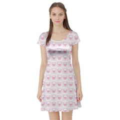Pink Cute Pig Pattern With Pink Pig Faces Short Sleeve Skater Dress by CoolDesigns
