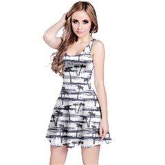 Gray Pattern With Sea And Palm Trees Summer Sleeveless Skater Dress by CoolDesigns