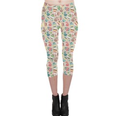 Green Easter Eggs Rabbits Holidays Patterm Capri Leggings by CoolDesigns