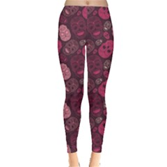 Red Pink And Purple With Skulls Leggings by CoolDesigns