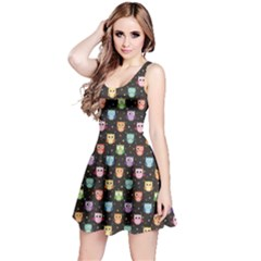 Black Pattern With Colorful Owls On Dark Sleeveless Dress by CoolDesigns