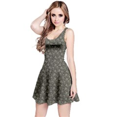 Dark Cannabis Leafs With Skulls Pattern Sleeveless Dress