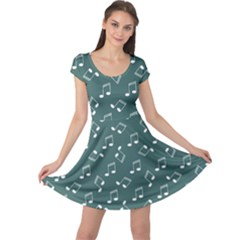 Green Music Elements Notes Gray Pattern Cap Sleeve Dress by CoolDesigns