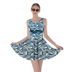 Blue Penguin Pattern Abstract Penguin Crystal Ice Skater Dress by CoolDesigns