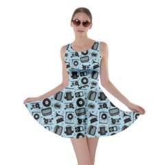 Blue Black Radio Cd Player Music Pattern Skater Dress by CoolDesigns