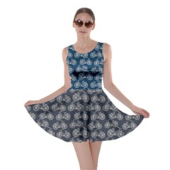 Blue Pattern With Outline Vintage Bicycles Skater Dress