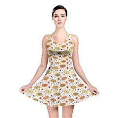 Colorful Pattern With Different Pizza And Spices Reversible Skater Dress by CoolDesigns