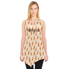 Orange Fox Pattern Sleeveless Tunic Top by CoolDesigns