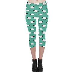 Green Wolf In Sheeps Clothing Wolf Dressed Capri Leggings by CoolDesigns