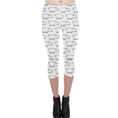 Gray Doodle Sketch Hippo Pattern With Side View Of Large Capri Leggings by CoolDesigns