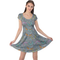 Colorful Night Pattern With Cartoon Bats Childish Cap Sleeve Dress by CoolDesigns