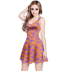 Orange Purple Dinosaur Sleeveless Dress by CoolDesigns