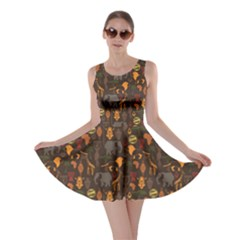 Brown African Ethnic Pattern With Stylized Skater Dress