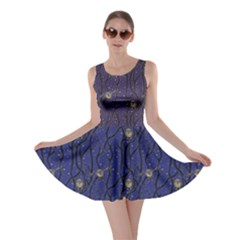 Blue Pattern Owls In The Night Forest Skater Dress