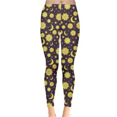Green Sun Moon And Stars Celestial Pattern Women s Leggings by CoolDesigns