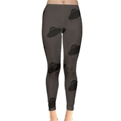 Black Ufo Web Flat Design Gray Pattern Women s Leggings by CoolDesigns