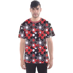 Red Pattern Retro Red Circles Polka Dot Men s Sport Mesh Tee by CoolDesigns