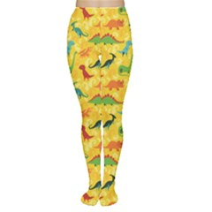 Yellow Cartoon Dinosaur Pattern Women s Tights by CoolDesigns