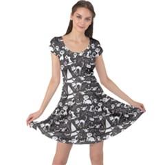 Black Chalkboard Halloween Pattern Cap Sleeve Dress