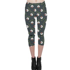 Blue Halloween Eyeball Flat Pattern Capri Leggings by CoolDesigns
