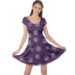 Purple Purple Spider Web Pattern Repeats Seamlessly Cap Sleeve Dress by CoolDesigns