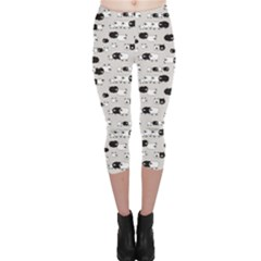 Gray Pattern Of Pretty Sheep Capri Leggings by CoolDesigns
