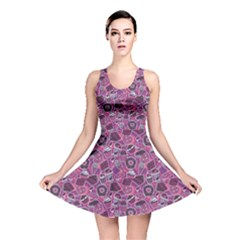 Purple Pattern With Sweet Food Cakes Chocolate Icecream Reversible Skater Dress by CoolDesigns