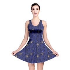 Blue Pattern Owls In The Night Forest Reversible Skater Dress by CoolDesigns