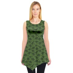 Green A Pattern With Dinosaur Silhouettes Sleeveless Tunic Top by CoolDesigns