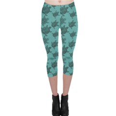 Turquoise Pattern Turtles Capri Leggings by CoolDesigns