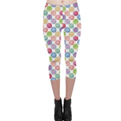 Colorful Watercolour Polka Dot Pattern Capri Leggings by CoolDesigns
