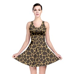 Brown A Brown And Yellow Giraffe Spotted Repeatable Reversible Skater Dress by CoolDesigns